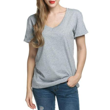 57d4dac9de9 Meaneor Women Casual Fashion V-Neck Short Sleeve Soft Loose T-Shirt Blouse  HFON - Walmart.com