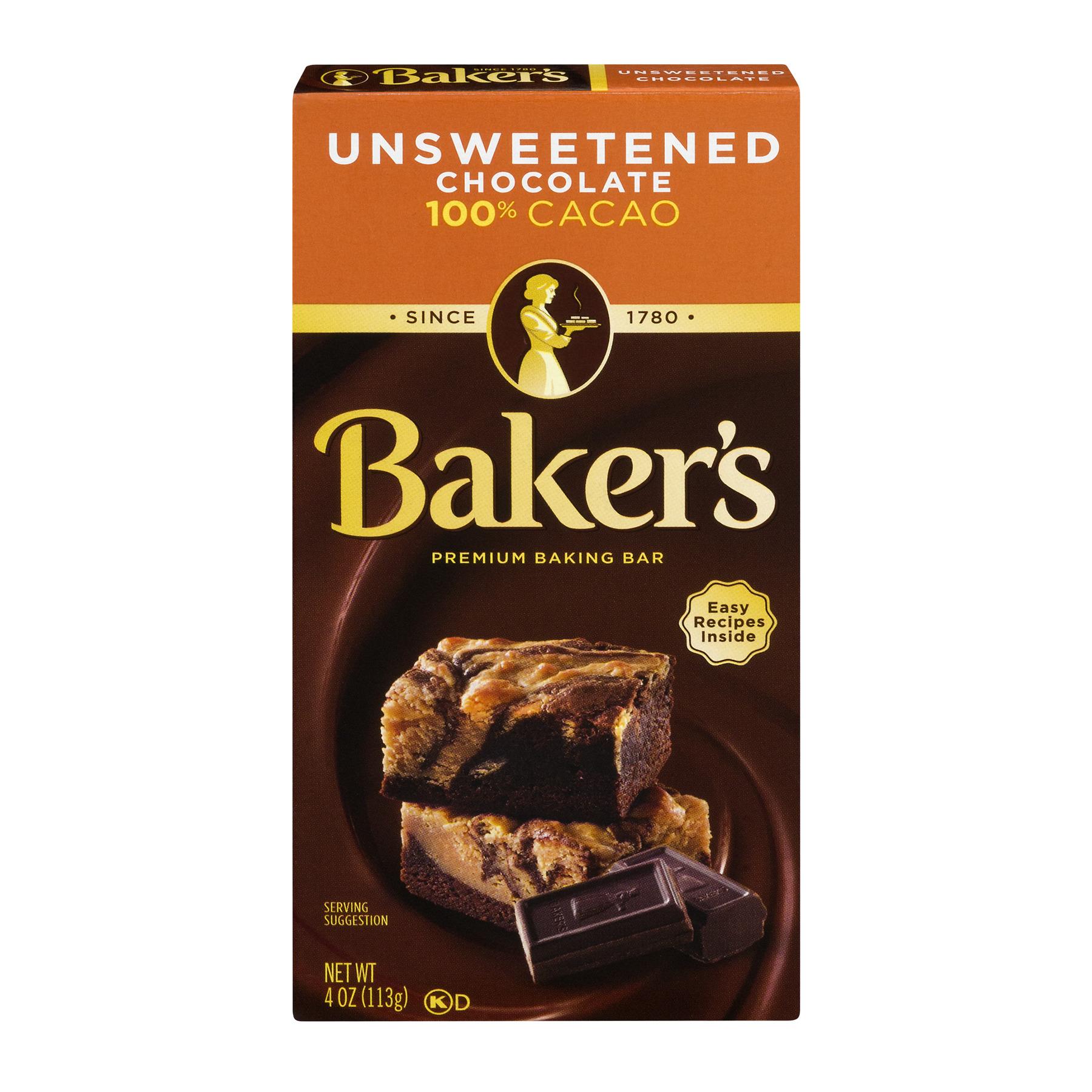 Baker's Baking Chocolate Bar 100% Cacao Unsweetened, 4 Oz
