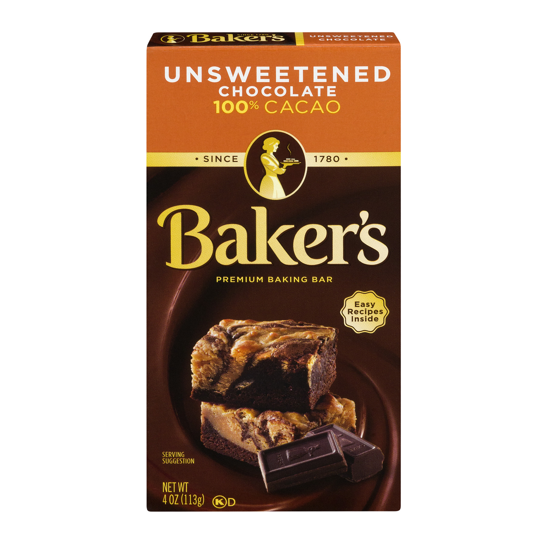 Baker's Baking Chocolate Bar 100% Cacao Unsweetened, 4 Oz