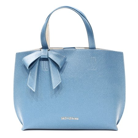 Suzy Levian Blue Saffiano Faux Leather Mini Tote Bag with Bow Blue Leather World Series