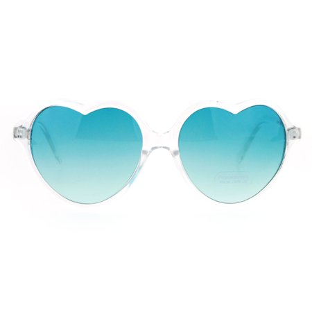 Cheap Fun Sunglasses (SA106 Fun Clear Frame Heart Shape Pop Color Sunglasses)