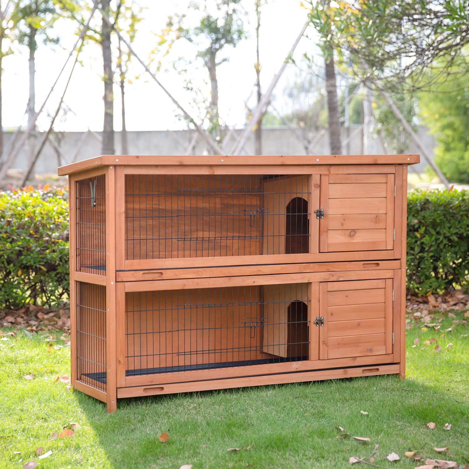 Kinbor Wooden Rabbit Hutch Bunny Cage Small Animal House Pet Cage