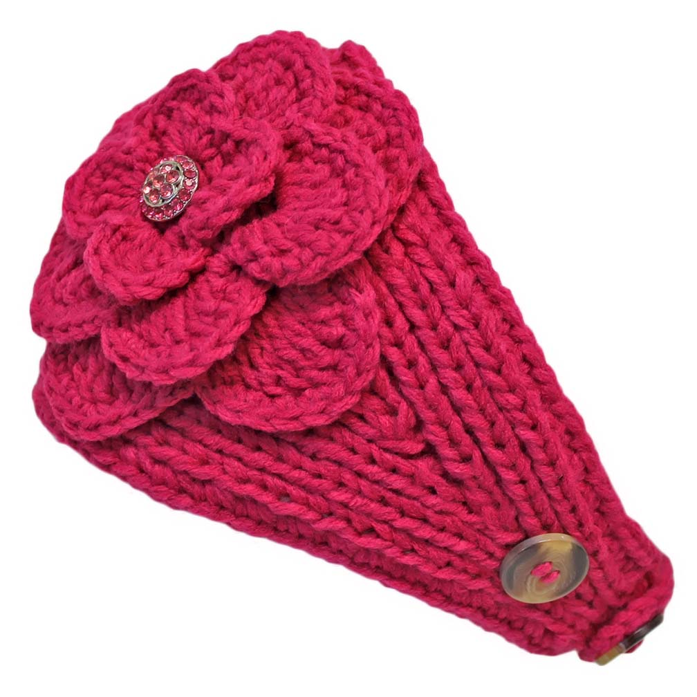 Luxury Divas Wide Knit Headband With Rhinestone Flower