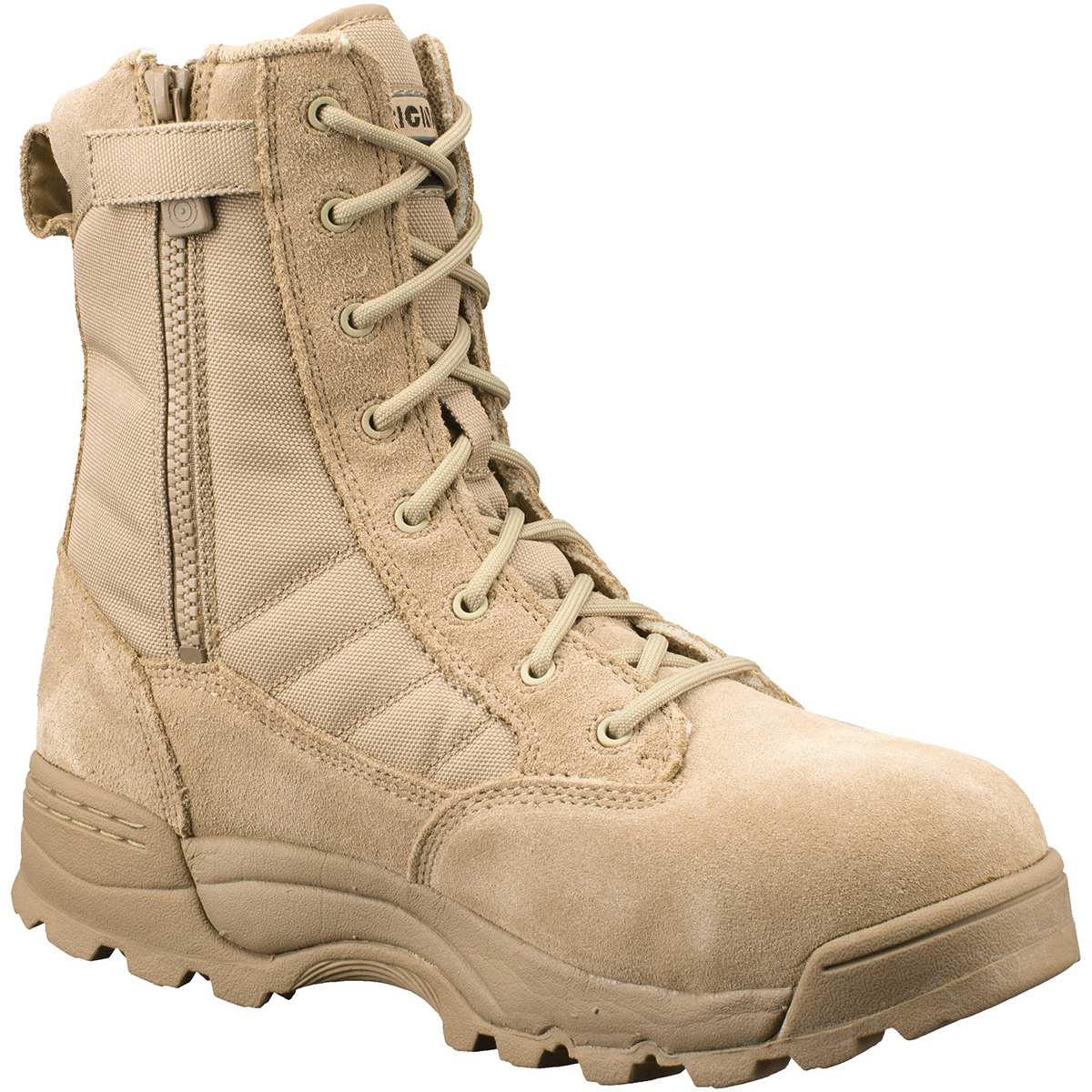 "Original Swat Chase 9"" Tactical Military Safety Toe Boots Side Zipper TAN 1194"