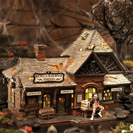 Department 56 Halloween Village 800000 Rickety Railroad Train Station