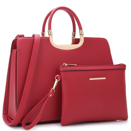 Dasein  Faux Leather Briefcase Satchel Handbag with Matching Accessory Pouch ()