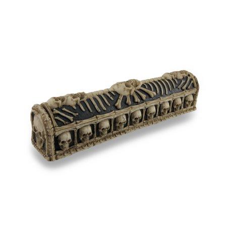 Skull and Bones Coffin Incense Burner Box w/Storage Compartment