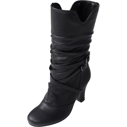 Brinley Co. - Women's Buckle Accent Slouchy Boots