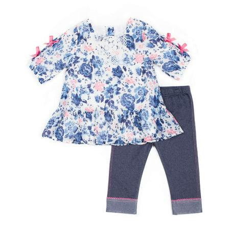 - Long Sleeve Printed Chiffon Top & Capri, 2pc Outfit Set (Baby Girls & Toddler Girls)