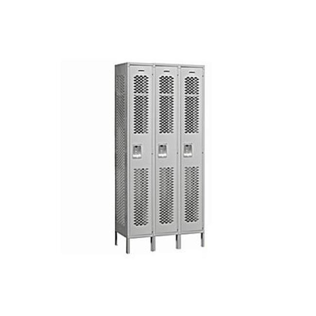 Salsbury Industries 71365GY-A 36 inch W x 78 inch H x 15 inch D Vented Metal Locker-Single Tier-3 Wide-Gray-Assembled