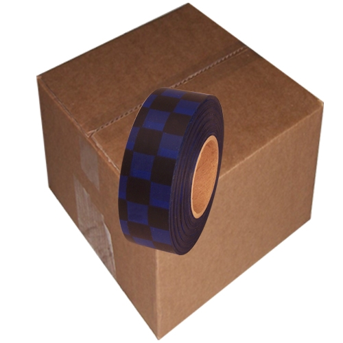 12 Roll Case of Black and Blue Checkerboard Flagging Tape 1 3/16 inch x 300 ft Non-Adhesive