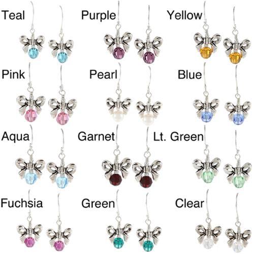 Charming Life Sterling Silver Crystal or Pearl Birthstone Bow Earrings Aqua crystal