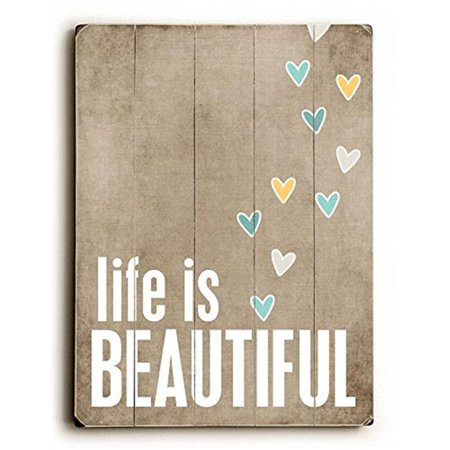 One Bella Casa 0004-3585-31 25 x 34 in. Life is Beautiful Planked Wood Wall Decor by Cheryl Overton - image 1 of 1