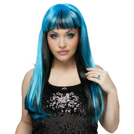elope WIG NATURAL N NEON BLACK/BLUE costume - image 1 de 1