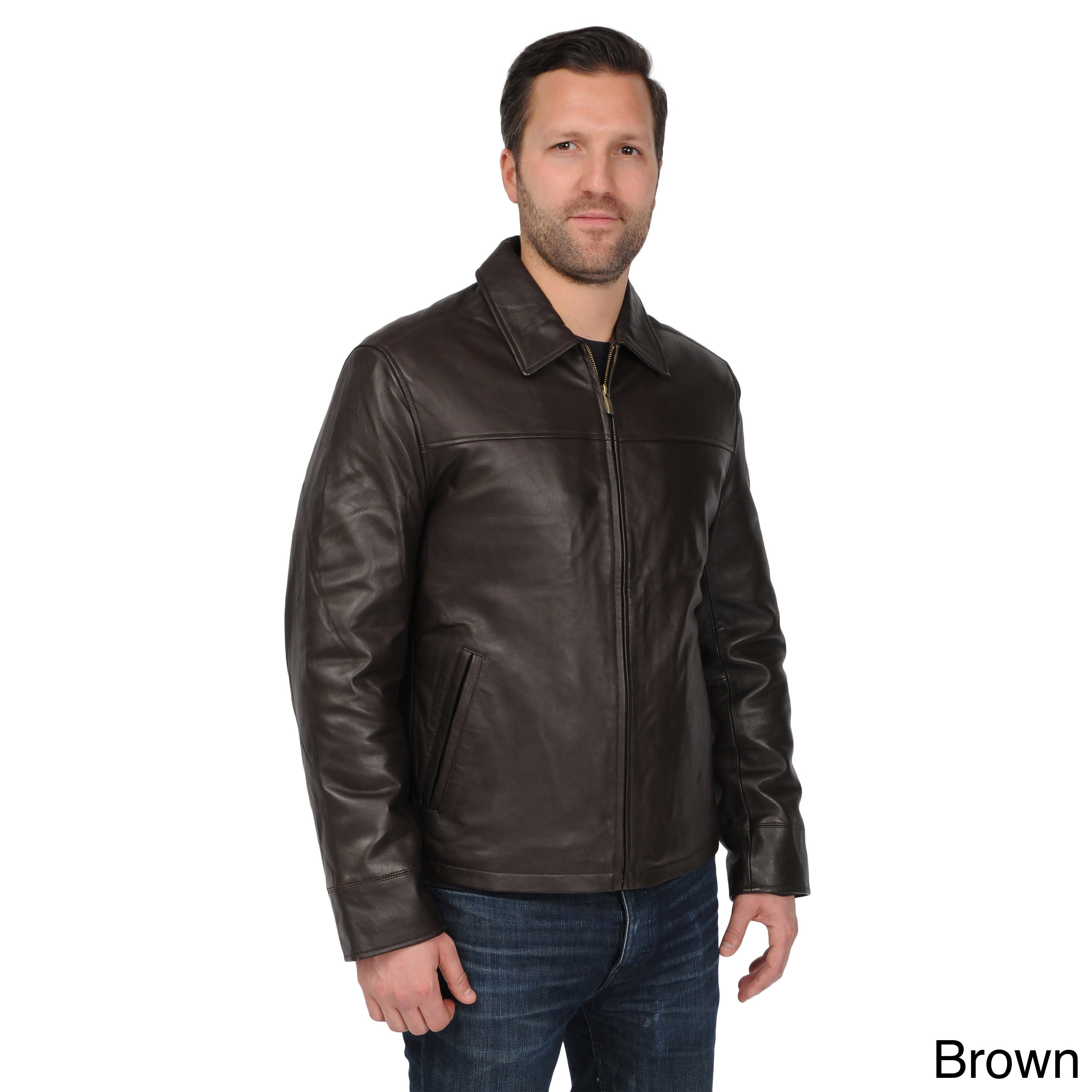 excelled men's lamb leather open bottom jacket with self belted back
