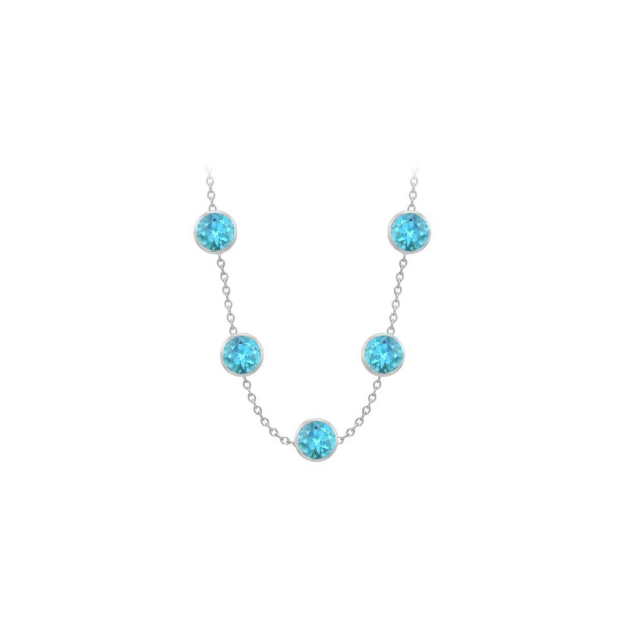LoveBrightJewelry Blue Topaz By the Yard Necklace 75 Carat TGW in 14K White Gold Complete Yard Length by Love Bright