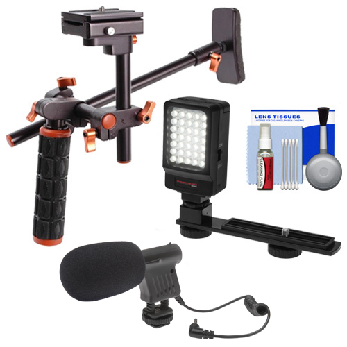DLC HD-DSLR Camera Video Rig Shoulder Brace Stabilizer with LED Video Light + Microphone + Cleaning Kit