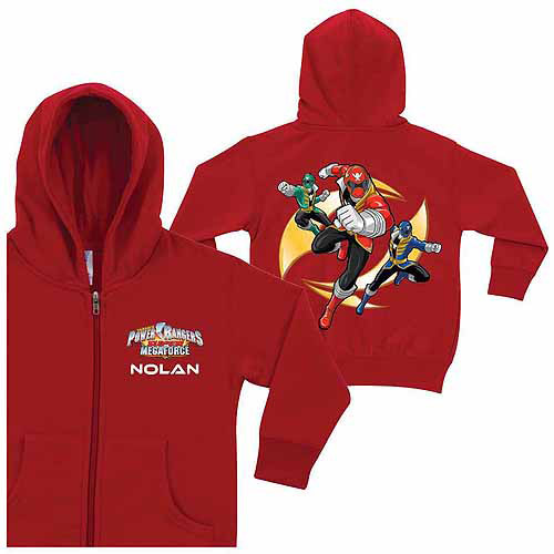 Personalized Power Rangers Super Megaforce Little Boys' Red Zip-Up Hoodie