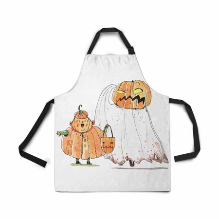 ASHLEIGH Adjustable Bib Apron for Women Men Girls Chef with Pockets Watercolor Halloween Cartoon Character Pumpkin White Novelty Kitchen Apron for Cooking Baking Gardening Pet Grooming Cleaning
