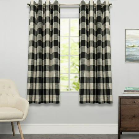 Courtyard Grommet Plaid Window Curtain Single Panel 63