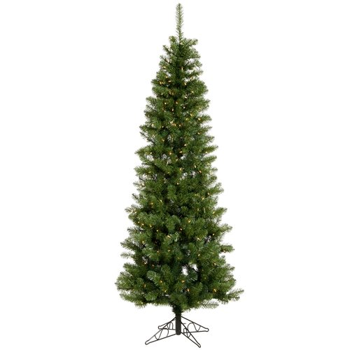 Vickerman Salem Pencil Pine 4.5' Green Artificial Christmas Tree with 150 Clear Lights with Stand