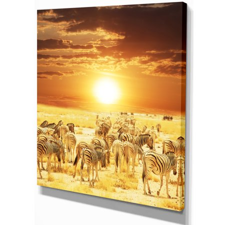 Wandering Herd of Zebra At Sunset - Extra Large African Canvas Art Print - image 2 de 3