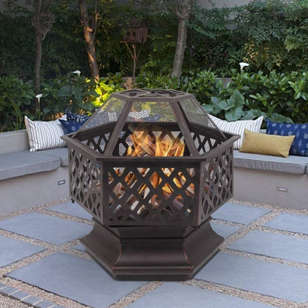 Safari animals hexagonal fire pit with grill*