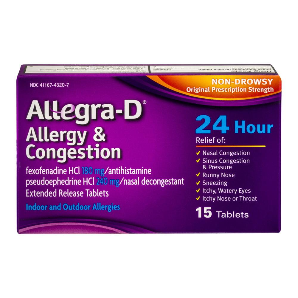 Fexofenadine hcl 180 mg 24 hour.doc - Allegra D Allergy Congestion Non Drowsy Original Prescription Strength 24 Hour 15 Ct Walmart Com