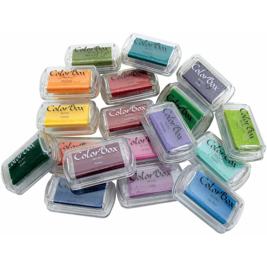 "ColorBox Acid-Free Mini Pigmented Non-Toxic Stamp Pad Set, 1"" x 1.75"", Assorted Colors, Set of 18"