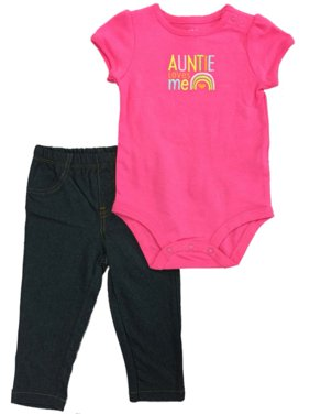 Infant Toddler Girls Pink Bodysuit Auntie Loves Me Rainbow & Jegging 2-PC Outfit