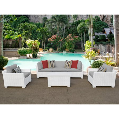 - TK Classics Monaco 6-Piece Outdoor Wicker Patio Conversation Set with Club Chair