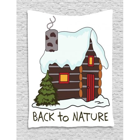 Log Cabin Tapestry, Illustration of Winter Theme Cozy Snowy Wooden Cabin Holiday in Christmas, Wall Hanging for Bedroom Living Room Dorm Decor, White Multicolor, by Ambesonne ()