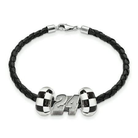 Sterling Silver Antiqued LogoArt NASCAR #24 William Byron Glass Leather Bracelet
