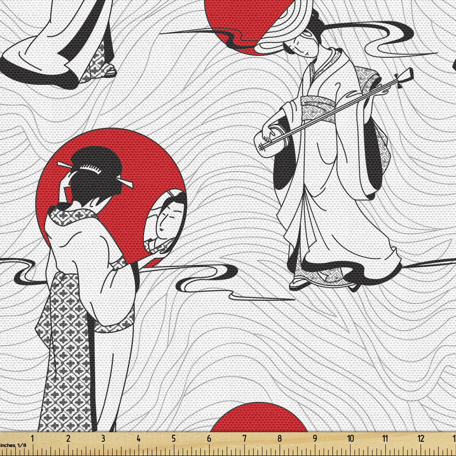 Asian Fabric By The Yard Japanese Geisha Girl With Traditional Kimono Folk Culture Style Decorative Fabric For Upholstery And Home Accents By Ambesonne Walmart Com Walmart Com