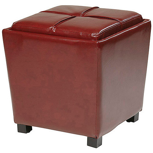 Eco Leather Storage Ottoman, Multiple Colors
