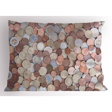 Bronze King Sham (Money Pillow Sham Close Up Photo of Coins European Union Euros Cents on Rustic Wooden Board, Decorative Standard King Size Printed Pillowcase, 36 X 20 Inches, Bronze Silver Yellow, by Ambesonne)