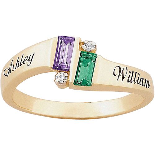 Personalized Couple's Diamond Accent 10kt Emerald-Cut Birthstone Name Promise Ring