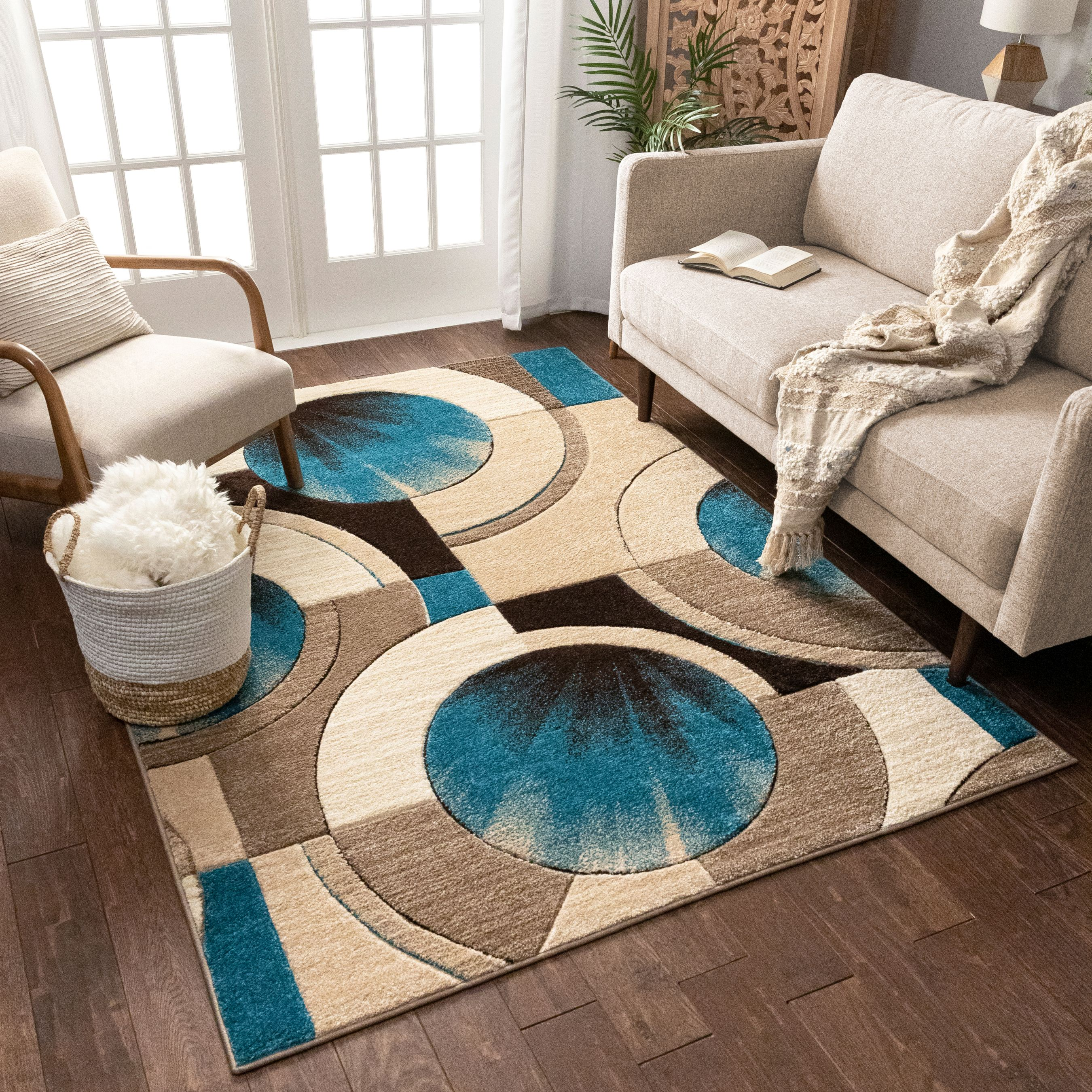 Well Woven Sunburst Blue Beige Brown Modern 5x7 5 3 X 7 3 Geometric Comfy Casual Hand Carved Area Rug Easy To Clean Stain Fade Resistant Abstract Contemporary Thick Soft Plush Walmart Com