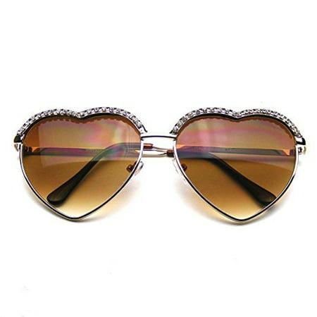 Glam Vintage Sunglasses (Emblem Eyewear - Cute Chic Heart Shape Glam Rhinestone Aviator Sunglasses)