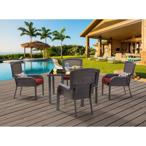 """Hanover Outdoor Strathmere 5-Piece Dining Set with 48"""" Square Table, Crimson Red/Aged Barrel"""