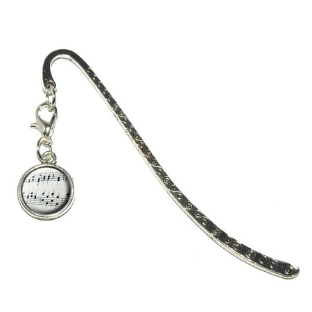 Music Musical Notes - Score Composition Metal Bookmark with Charm
