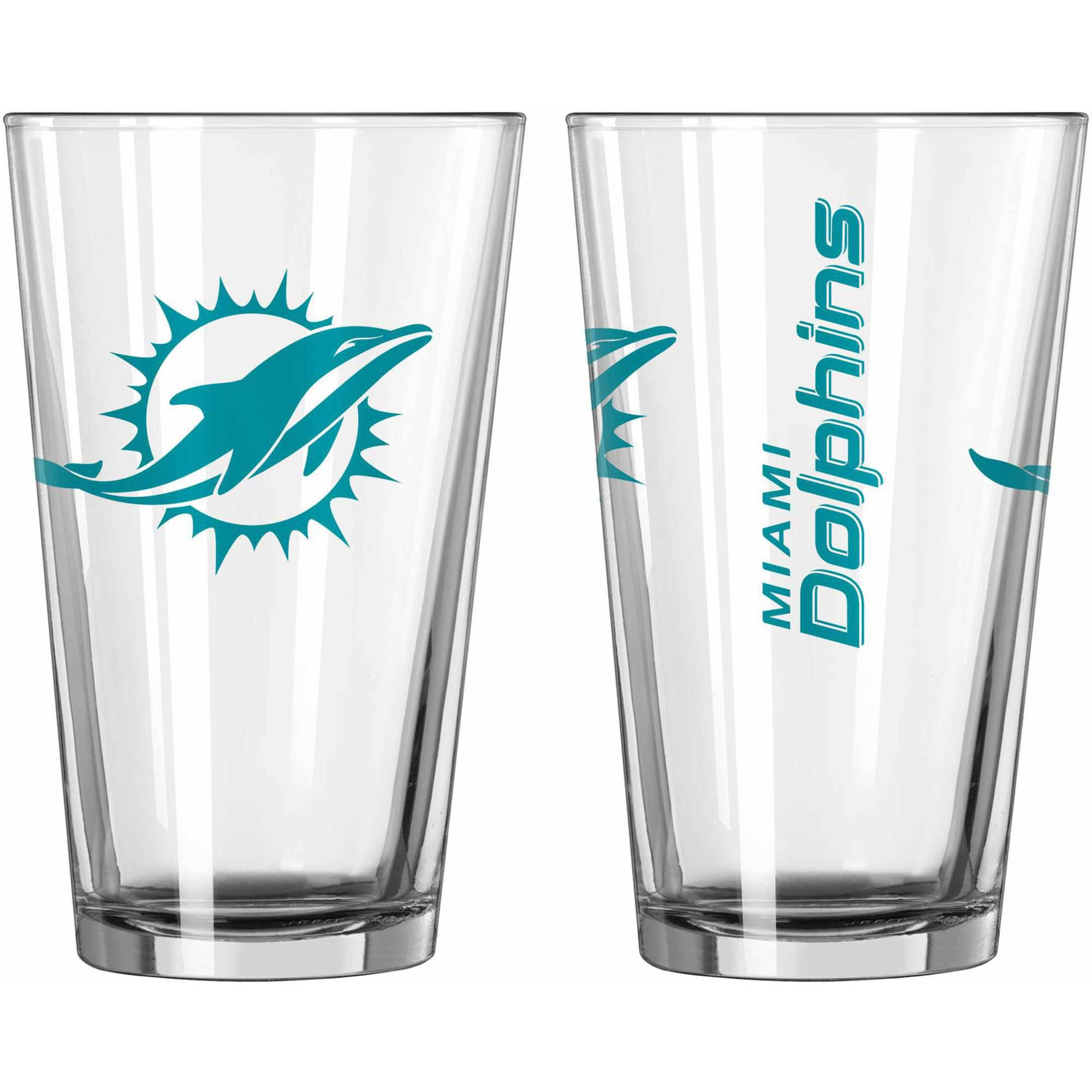 Boelter Brands NFL Set of Two 16 Ounce Game Day Pint Set, Miami Dolphins
