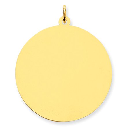 Engravable Round Disc Charm - 14k Yellow Gold Engravable Round Disc Charm (1.5in long x 1.2in wide)