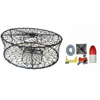 """KUFA CT50 Sports Foldable Crab Trap with 11"""" Red/White Floats, Harness, Bait case & Crab Caliper Combo (CT50+CAC1)"""