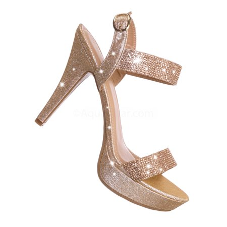 37750a4bee361 Delta1 by Top Moda, Rhinestone Studded High Heel Dress Sandal - Women  Sparkling Party Shoes