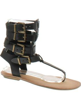 24b38ac9b38 Product Image Liliana AVIS-3 Women Leatherette Strappy T-Strap Gladiator  Thong Sandal - Black