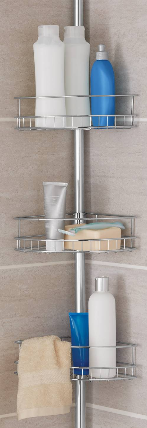 Mainstays Tension Pole Shower Caddy, Chrome by Supplier Generic