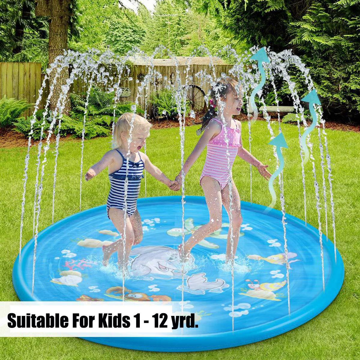 Kids Inflatable Water Splash Sprinkler Play Mat Splash