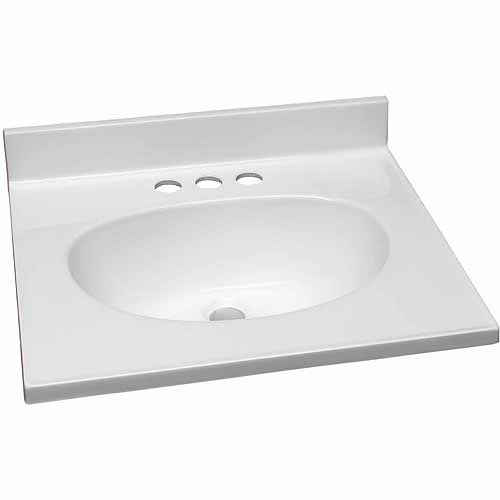 """Design House 551242 Single Bowl Marble Vanity Top, 19"""" x 17"""", Solid White"""