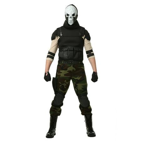 Adult Skull Military Man Costume - Skull Makeup Man